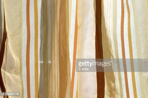 Brown color scale curtain in daylight : Stock Photo