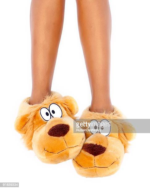 Brown dog character slippers on feet