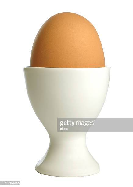 Brown egg in cup