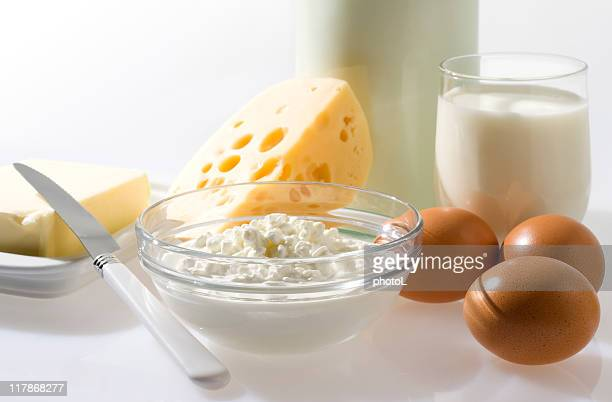 Brown eggs and dairy products.