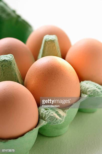 Brown eggs in green egg box