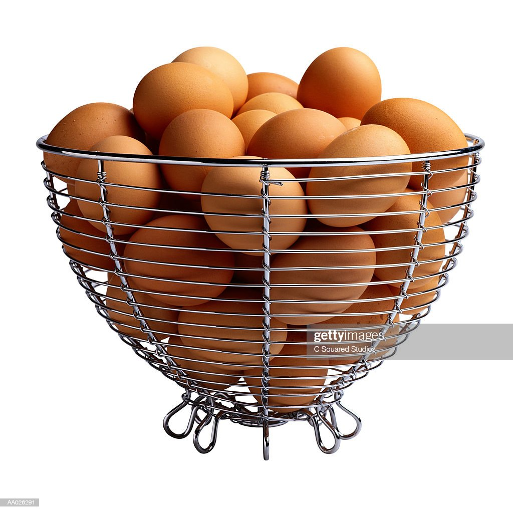 Brown Eggs in Wire Basket : Stock Photo