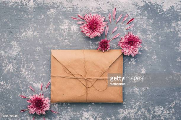 Brown envelope with flowers