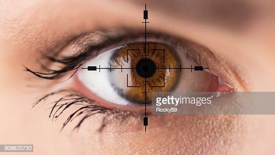Brown eyes - eyesight test : Stock Photo