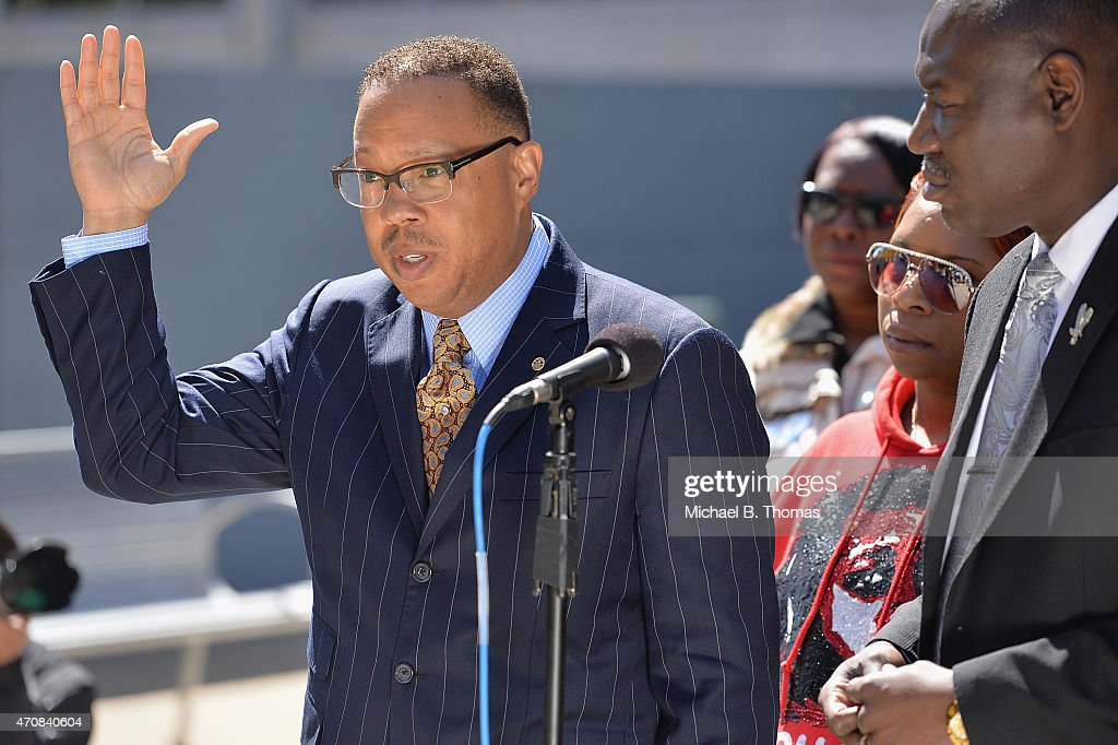 Brown family attorney, Anthony Gray speaks to the media during a press conference outside the St. Louis County Court Building on April 23, 2015 in Clayton, Missouri. Family members have announced a civil lawsuit over the death of Michael Brown Jr. this past August in Ferguson, Missouri. (Photo by Michael B. Thomas/Getty Images) Local Caption: Anthony Gray