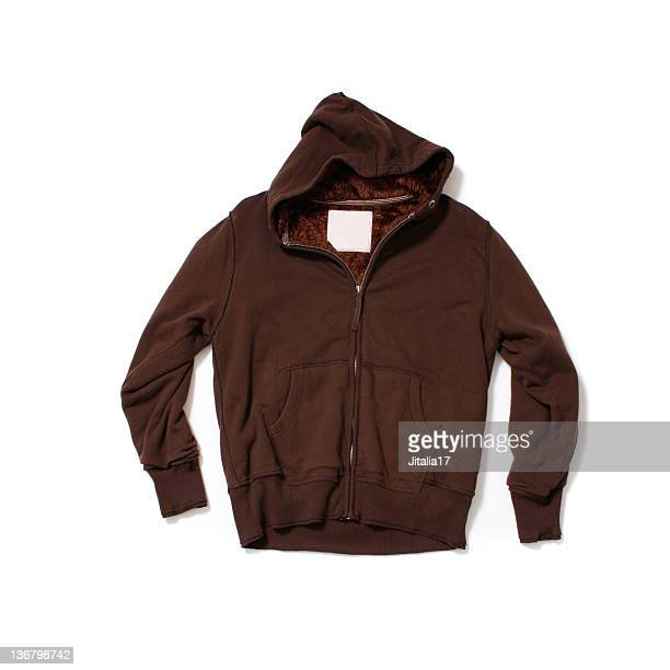 Brown Hooded-Sweatshirt on White Background