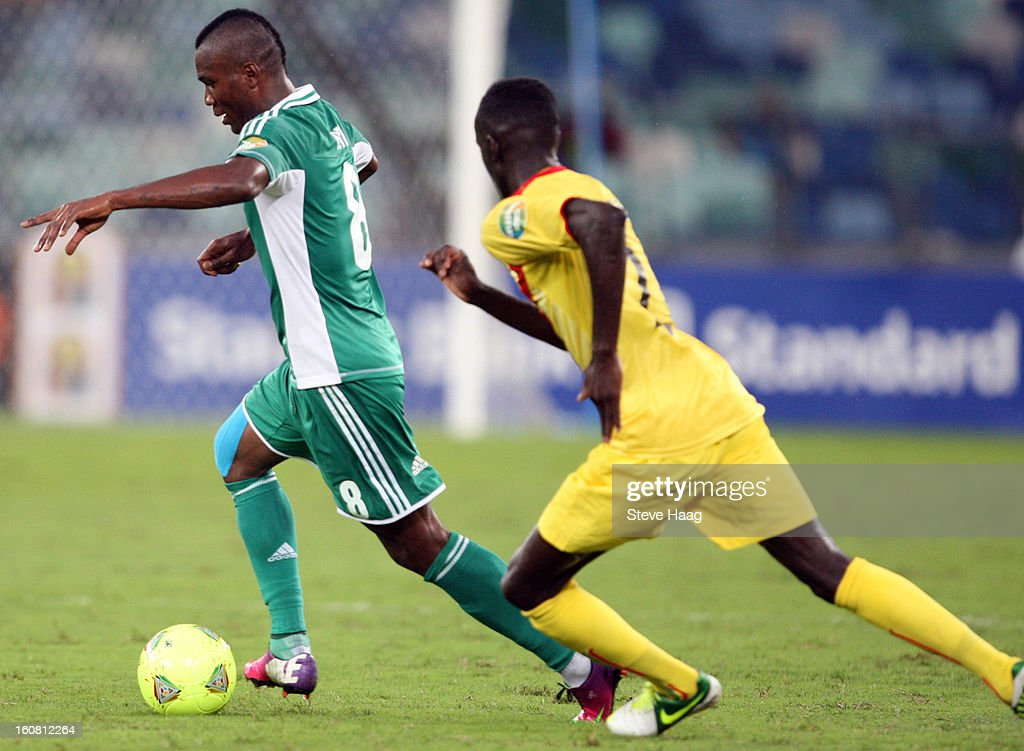 Brown Ideye of Nigeria on attack during the 2013 African Cup of Nations Semi-Final match between Mali and Nigeria at Moses Mahbida Stadium on February 06, 2013 in Durban, South Africa.