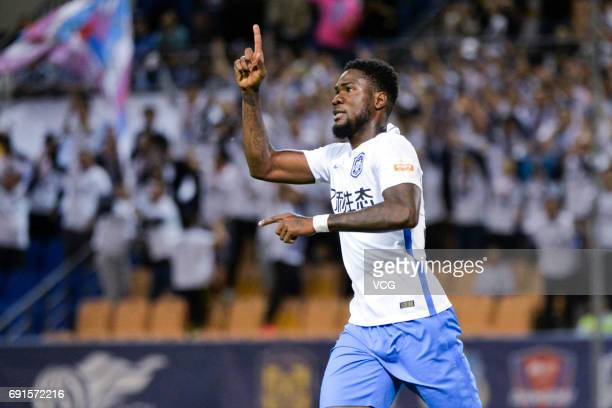 Brown Ideye of Tianjin Teda celebrates after scoring a goal during 2017 Chinese Super League 12th round match between Tianjin Teda and Shanghai...