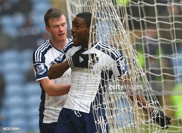 Brown Ideye of West Brom celebrates scoring their second goal during the Barclays Premier League match between Burnley and West Bromwich Albion at...