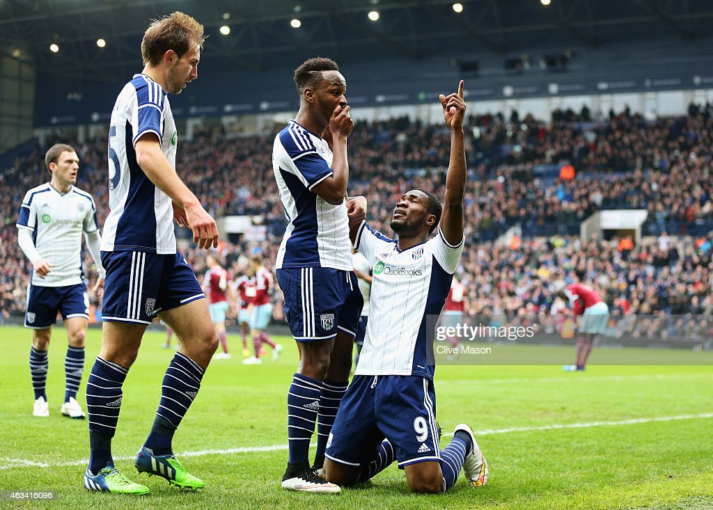 Brown Ideye of West Bromwich Albion celebrates with team mates Saido Berahino and Craig Dawson as he scores their first goal during the FA Cup Fifth...