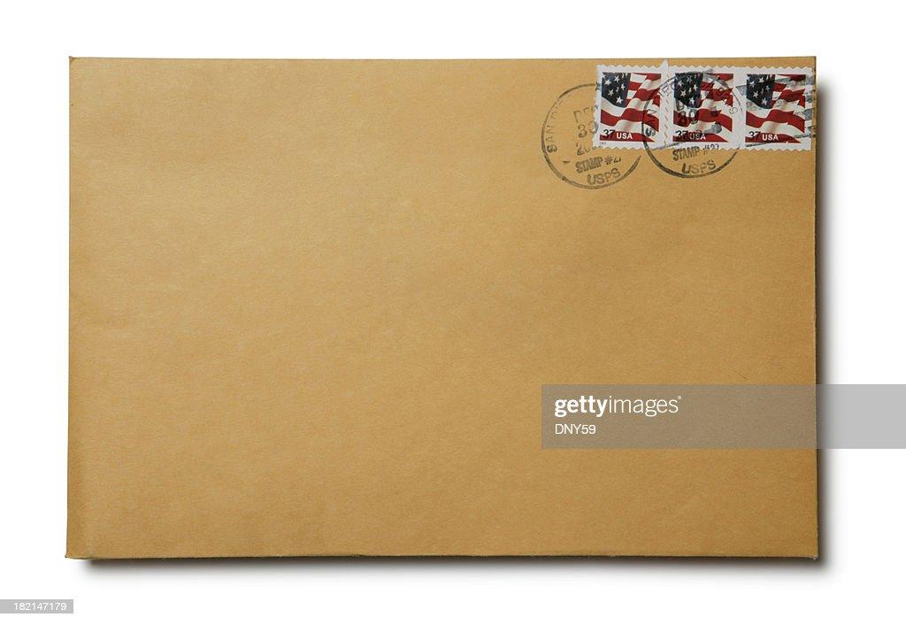 Imballaggio busta con annullata Stati Uniti francobolli su sfondo bianco : Foto stock