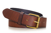 brown leather belt cut out from white backround