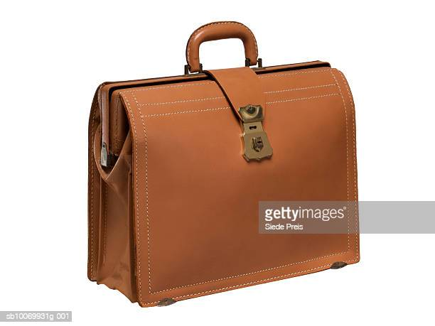 Brown leather briefcase on white background