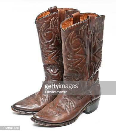 Brown Leather Cowboy Boots With Designs Stock Photo | Getty Images