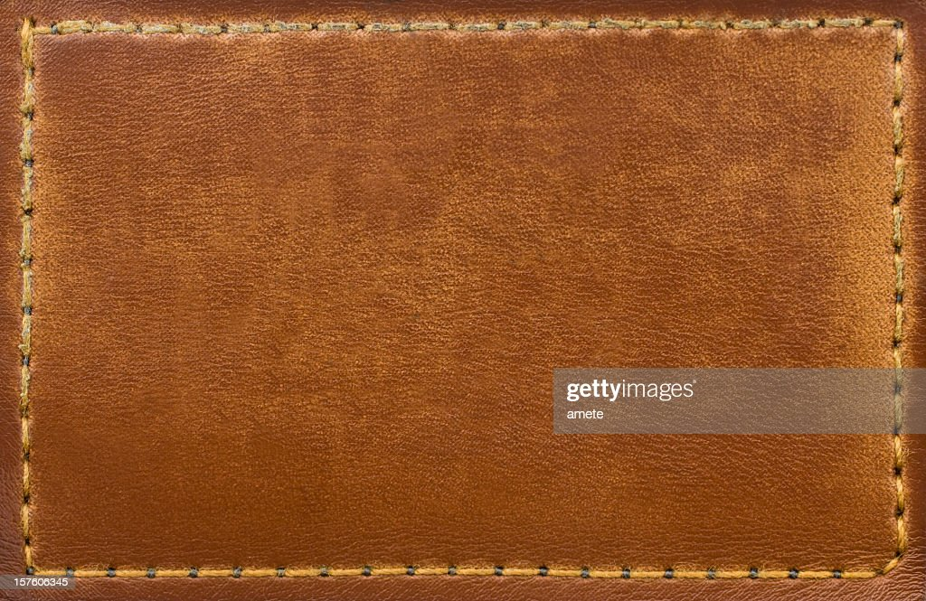 Leather Blank Jeans Label : Stock Photo