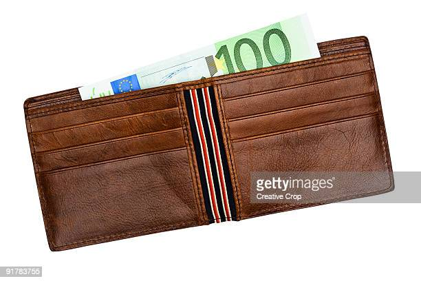 Brown leather wallet containing 100 Euro notes