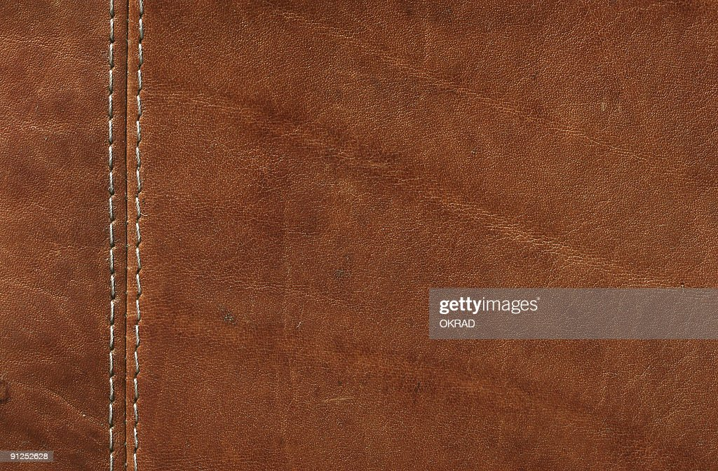 Brown Leather with Stitches Close-up shot