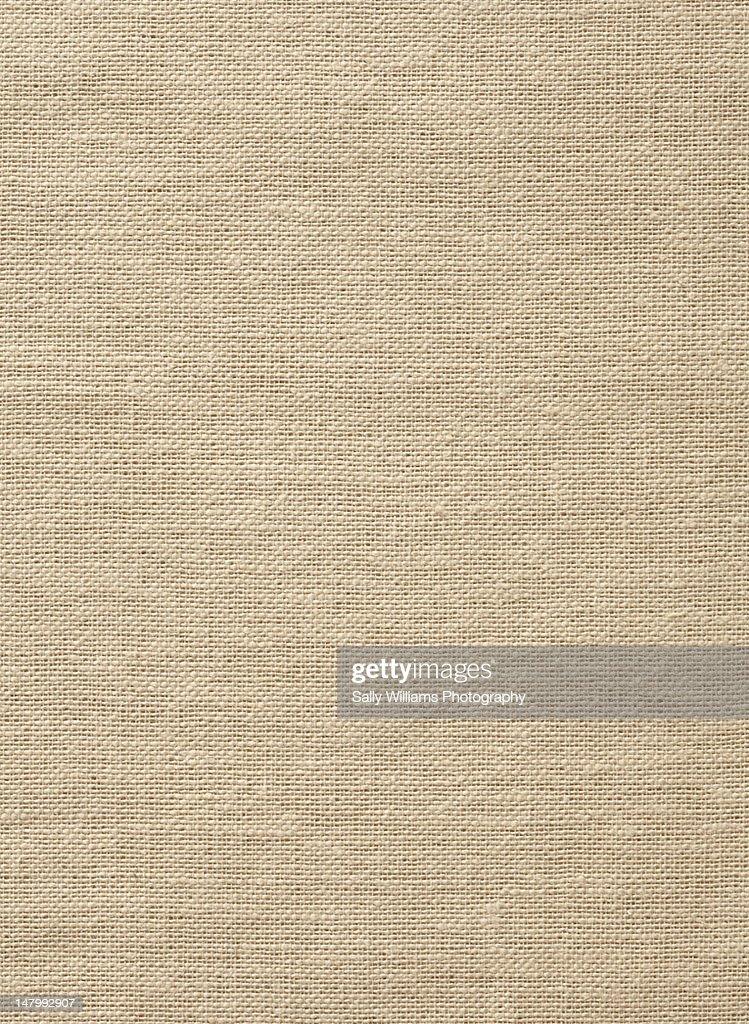 A brown linen tablecloth : Stock Photo