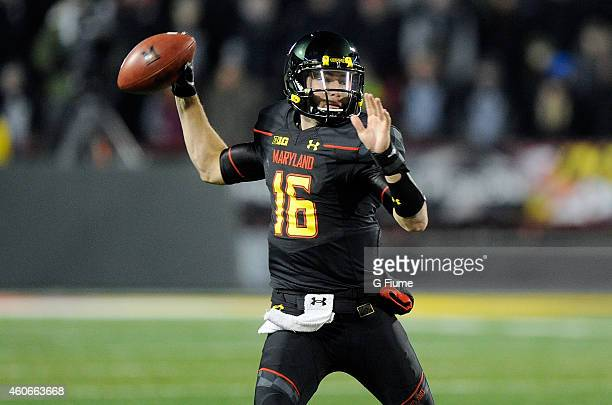 J Brown of the Maryland Terrapins throws a pass against the Michigan State Spartans at Byrd Stadium on November 15 2014 in College Park Maryland