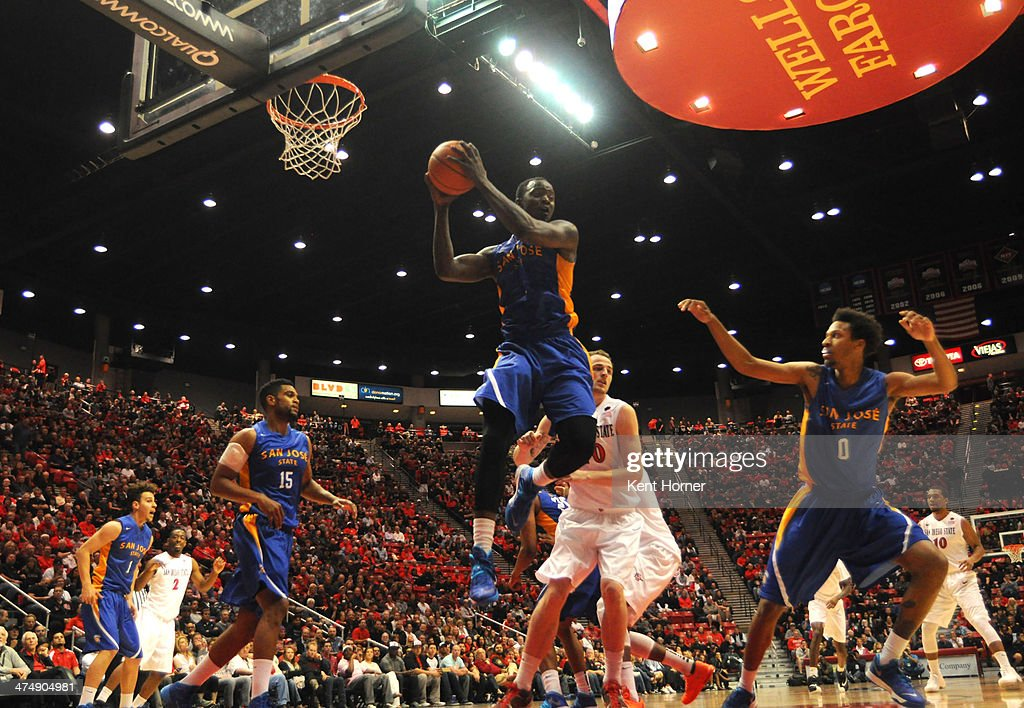 J Brown of the San Jose State Spartans rebounds the ball in the first half of the game against the San Diego State Aztecs at the Viejas Arena on...