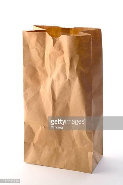 Braune Papiertüte Lunch-Paket und nehmen Sie sich Essen auf Weiß