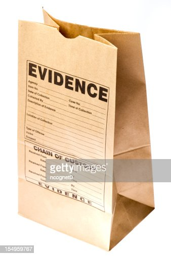 Brown paper bag with evidence form stamped on the side