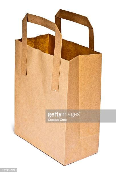 Brown paper grocery bag with handles