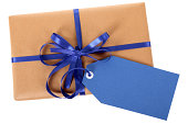 Plain brown paper package with blue ribbon and gift tag.  Alternative version shown below: