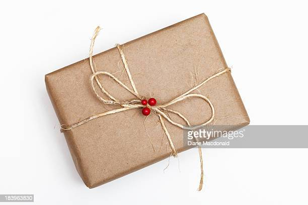 Brown Paper Package With String and Red Berries