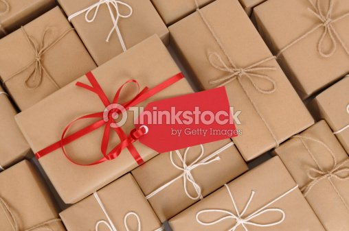 Brown paper packages and gift : Stock Photo