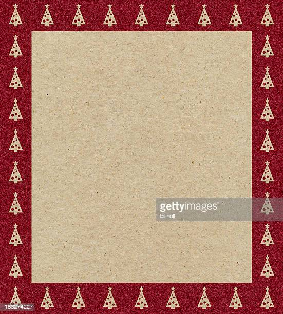 brown paper with Christmas tree glitter border