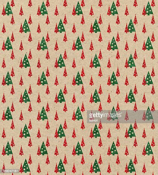 brown paper with Christmas tree pattern