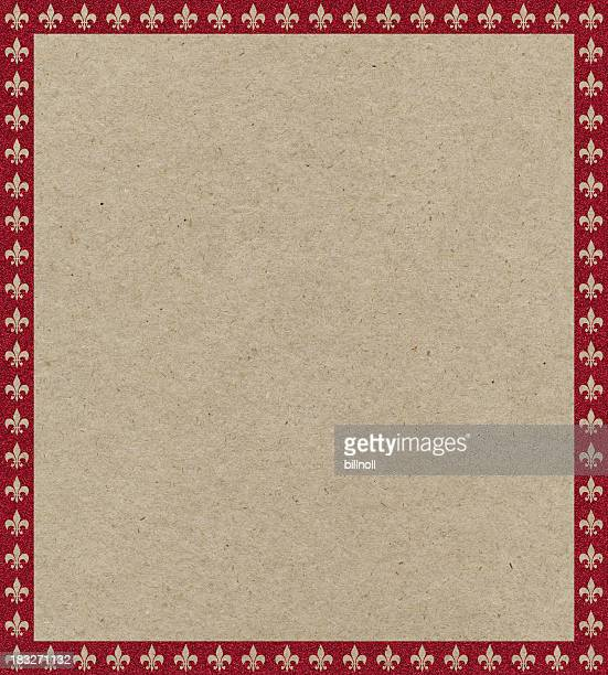 brown paper with fleur-de-lys border