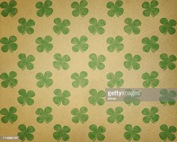 brown paper with green clover pattern