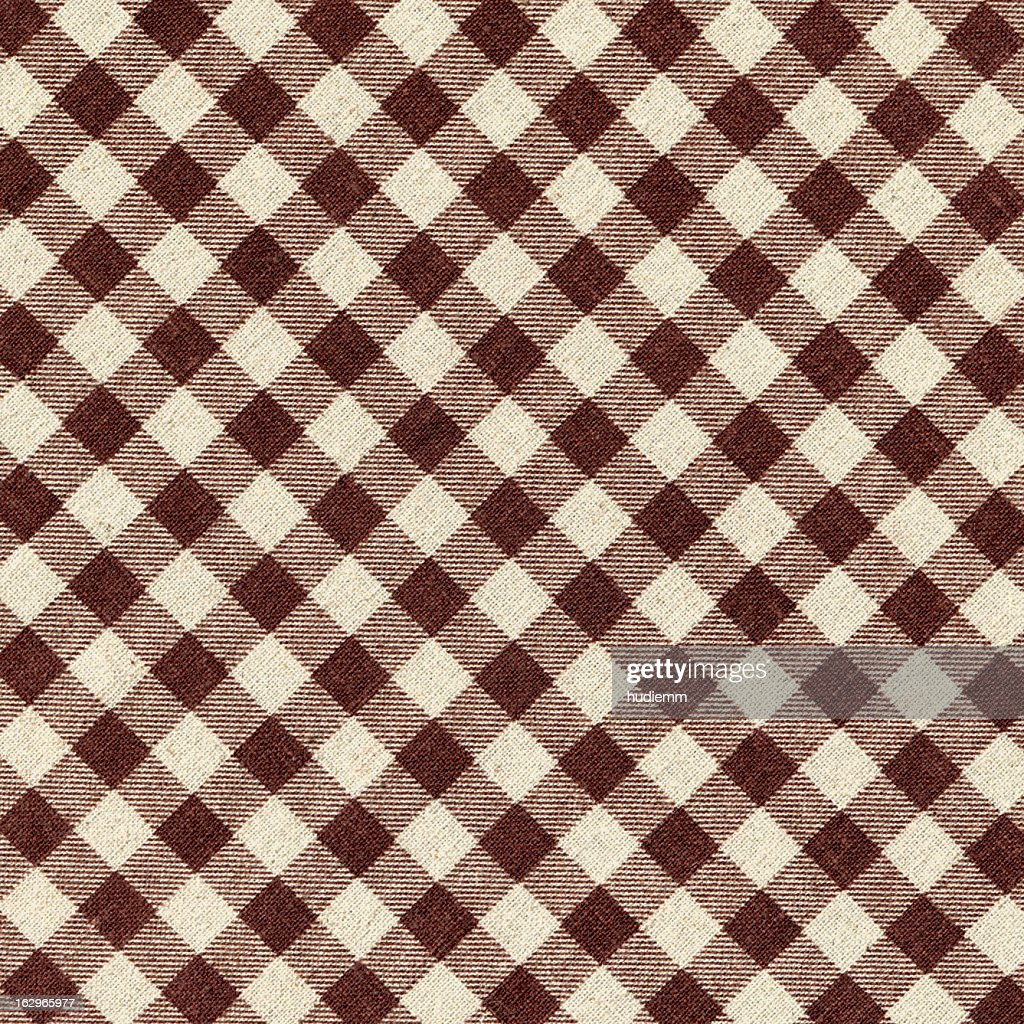 Brown Plaid Fabric background textured : Stock Photo