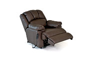 Brown reclining leather chair on white background
