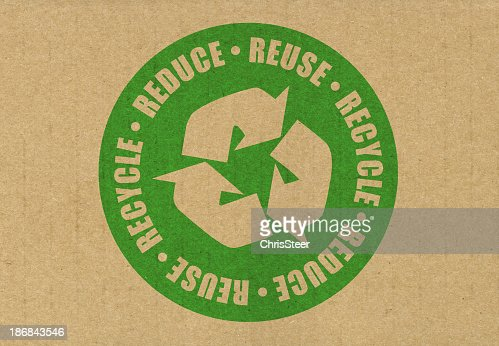 Brown recycle paper with a green circular symbol