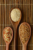 Brown rice, quinoa and wheat-grains