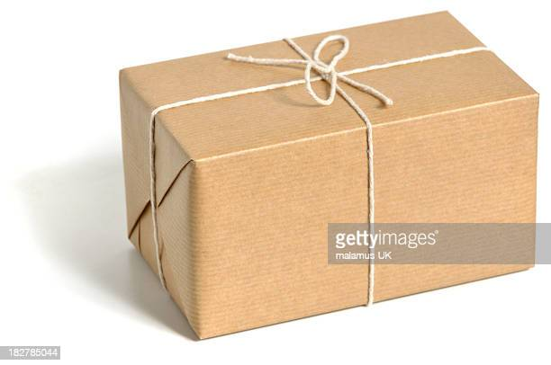 Brown standard size wrapped parcel with thin ropes