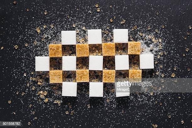 Brown Sugar Cube and White Sugar Cube