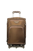 Closeup Brown Suitcase with Handle Isolated on White Background