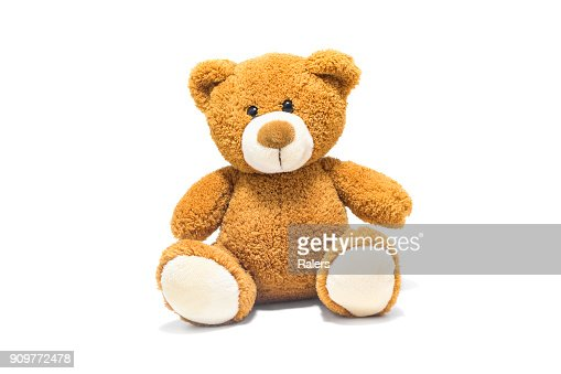 Brown teddy bear isolated in front of a white background. : Foto de stock