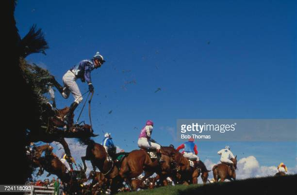Brown Trix ridden by David Pitcher falls at Becher's Brook fence during action in the 1989 Seagram Grand National at Aintree racecourse near...