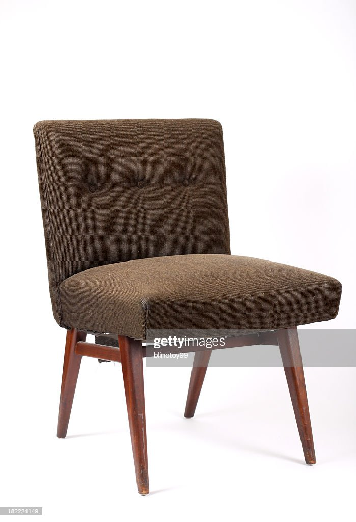Brown vintage chair on white background