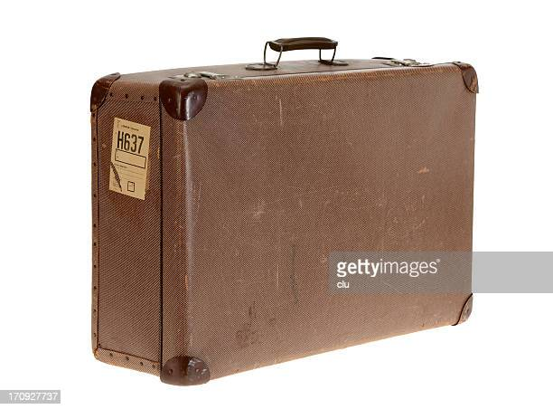 Brown vintage suitcase on white background
