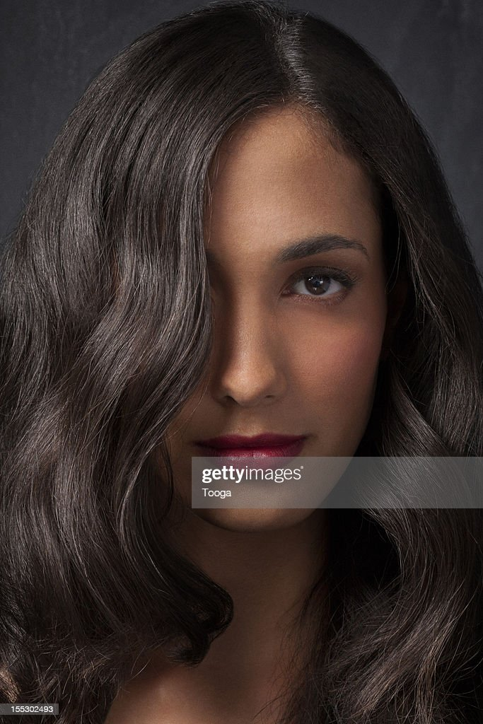 Brown wavy hair long hair portrait : Stock Photo