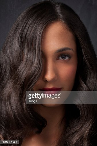 Brown wavy hair long hair portrait : Stock Photo