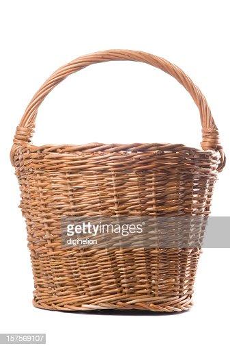 Brown Wicker Basket on White Background