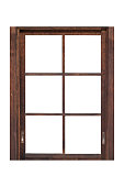 Brown wood window frame isolated on white background