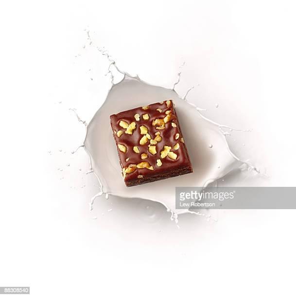 Brownie and milk splash